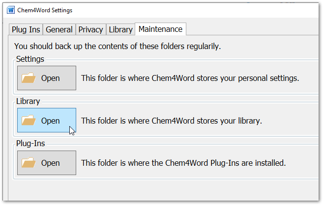 Chem4Word Options Maintenance Tab